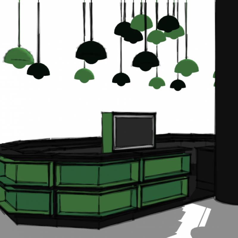 prævisualisering af bar & lamper, Carlsberg Bar, Lufthavnen, Kastrup